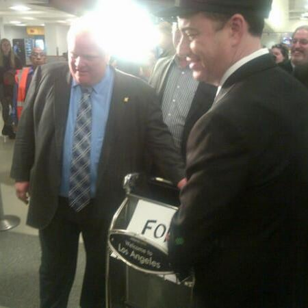 Jimmy Kimmel Gives Rob Ford a Ride From LAX Before Oscars