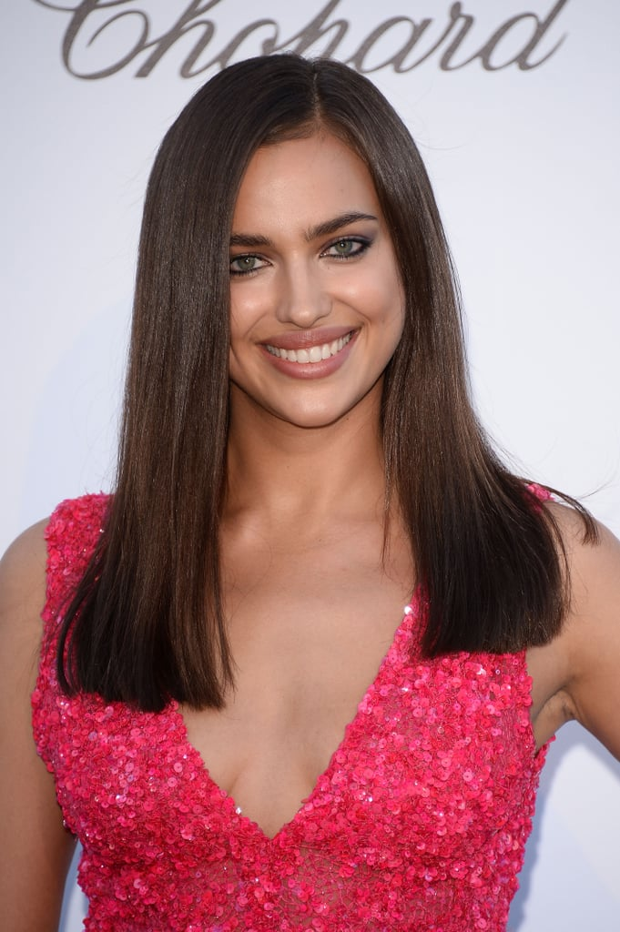 Irina Shayk, who is frequently seen in Sports Illustrated's Swimsuit Issues, went for sleek straight hair and tightly lined eyes.
