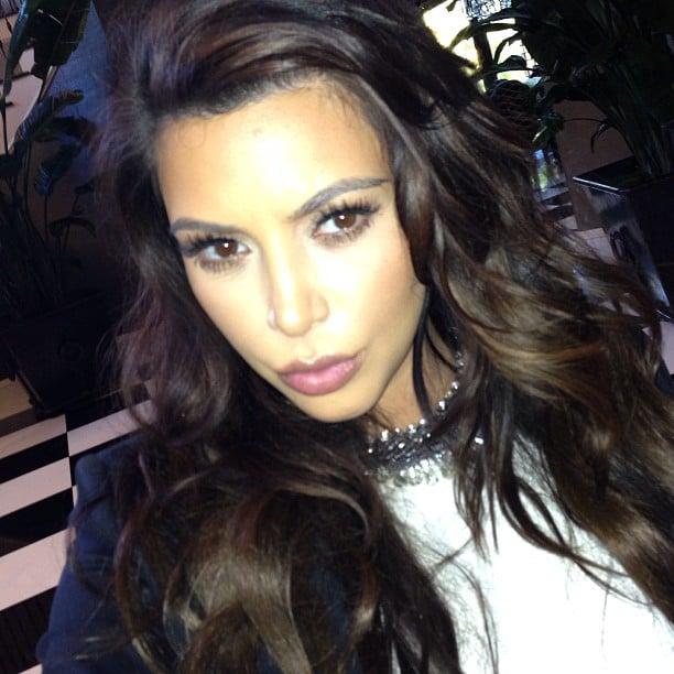 Kim Kardashian pursed her lips for a selfie. Source: Instagram user kimkardashian