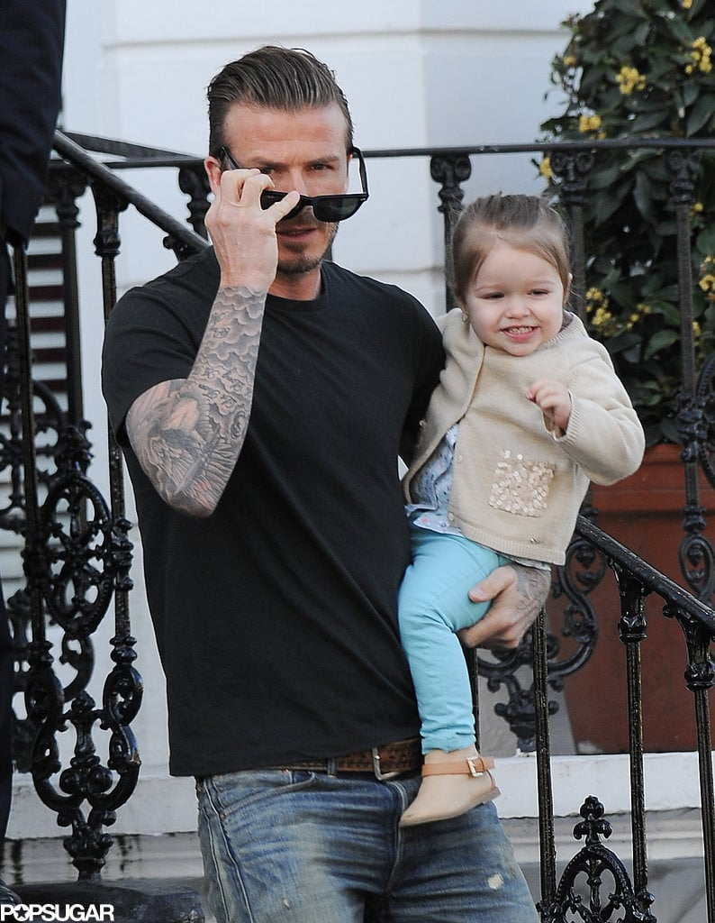 David and Harper went for a morning stroll in London in May 2013.