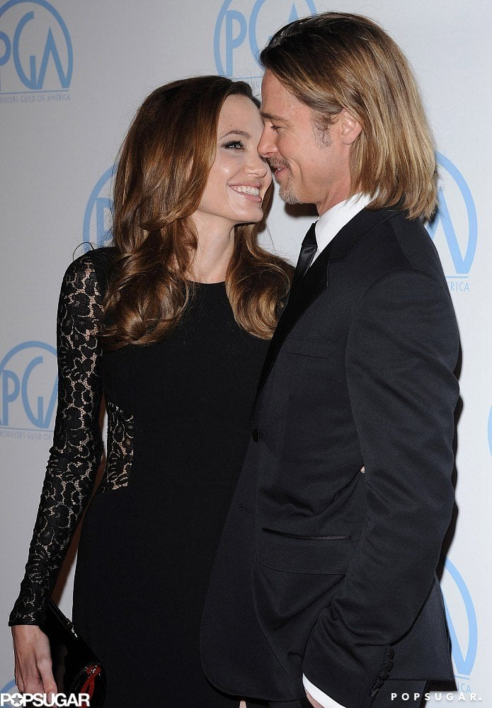 Angelinagave Brad a loving look at the Producers Guild Awards in LA in January 2012.