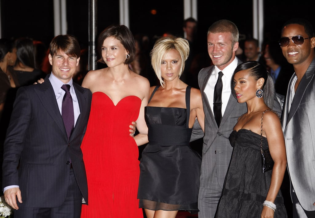 Katie Holmes stood out in a red strapless dress while welcoming David Beckham and Victoria Beckham to LA in July 2007 — she attended the soiree with then-husband Tom Cruise, as well as friends Will Smith and Jada Pinkett Smith.