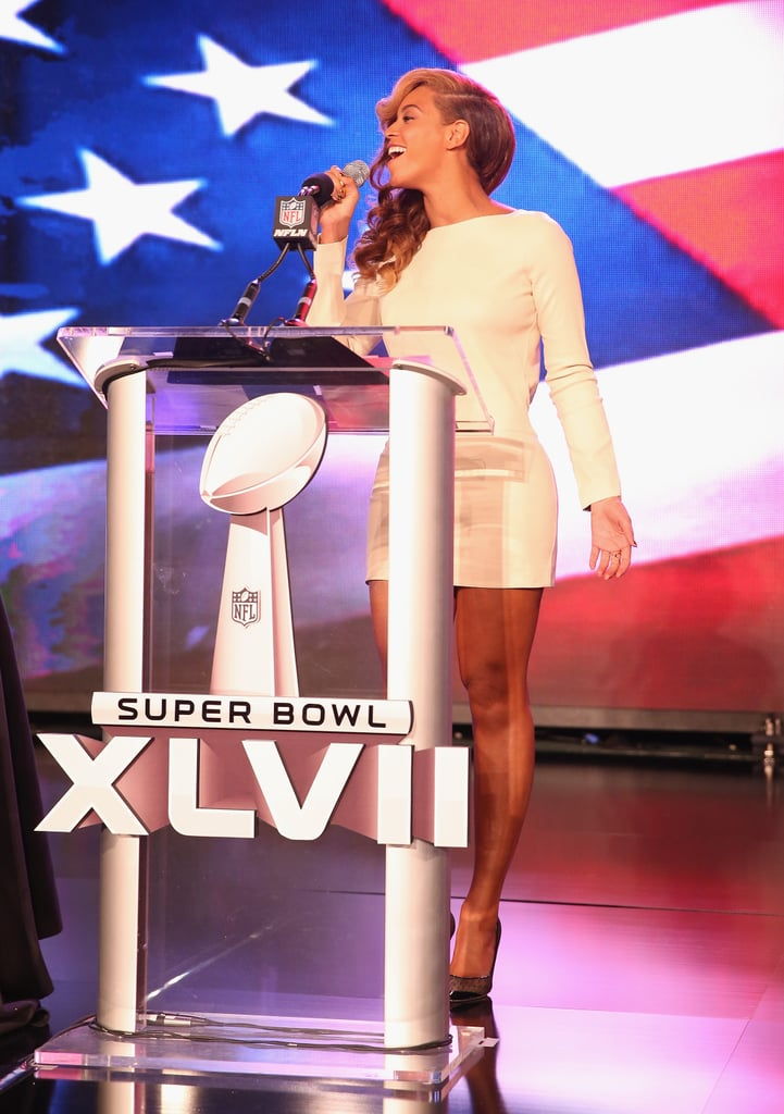 Beyoncé belted out the national anthem live at the Super Bowl halftime show press conference on Thursday.