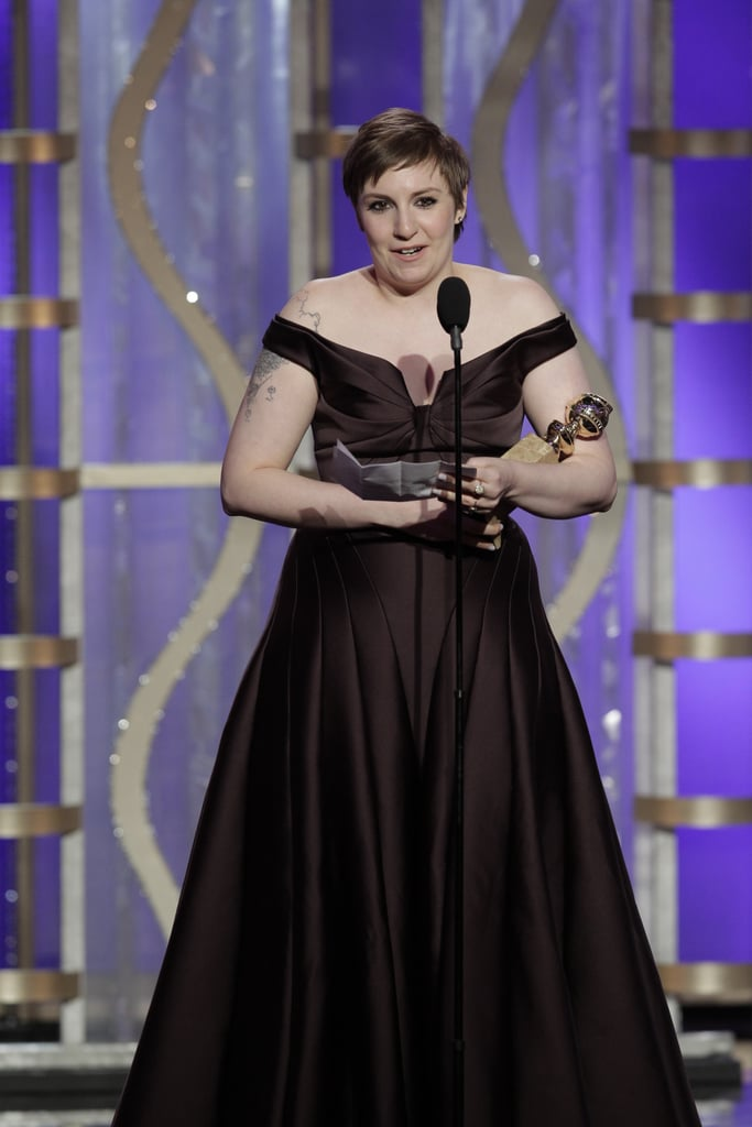 Lena Dunham accepted the best actress award for a TV series, comedy of musical.