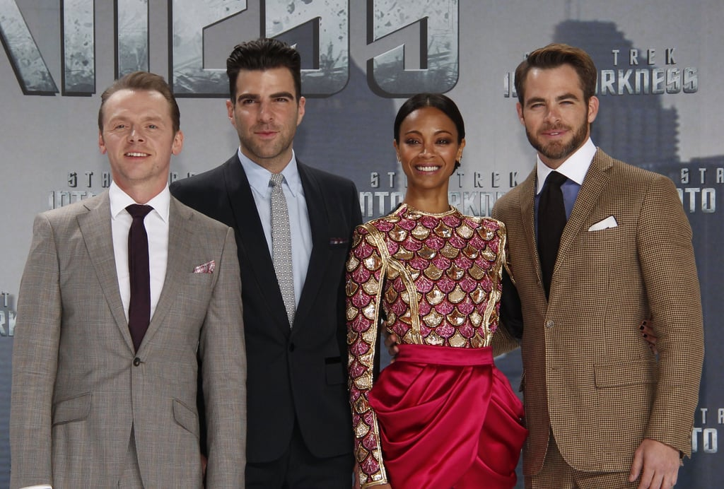 Simon Pegg, Zachary Quinto, Zoe Saldana, and Chris Pine showcased Star Trek Into the Darkness in Berlin on Monday.