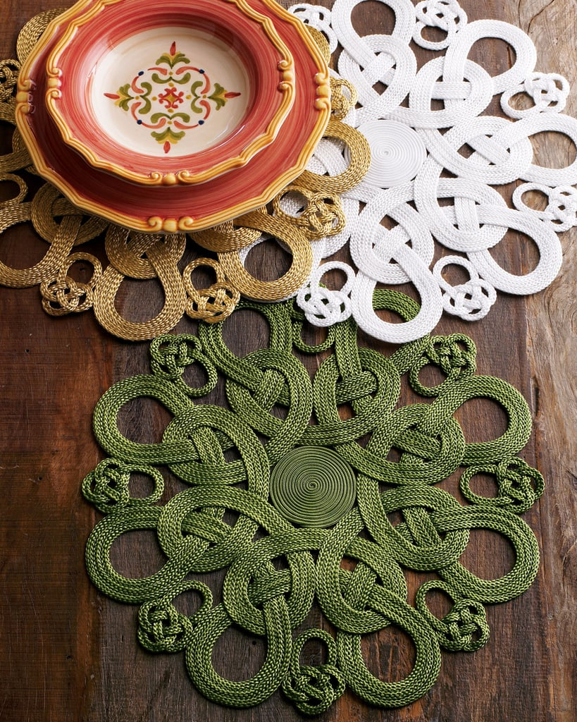 Handcrafted, intricate place mats ($46, originally $58) in gold or deep green will give your St. Paddy's Day party a sophisticated, grown-up feel.