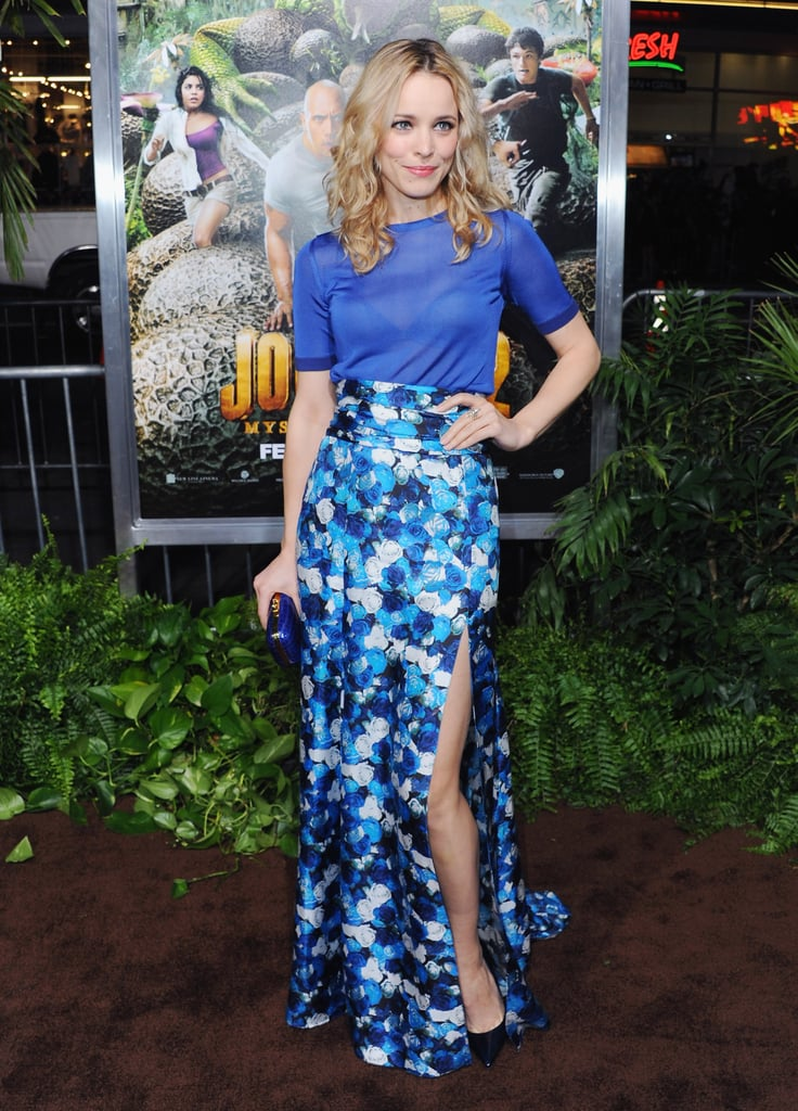 Rachel McAdams looked gorgeous in a Peter Som ensemble comprised of a floral slitted maxi skirt and bright cobalt tee at the Journey 2: The Mysterious Island LA premiere.   More American Apparel...