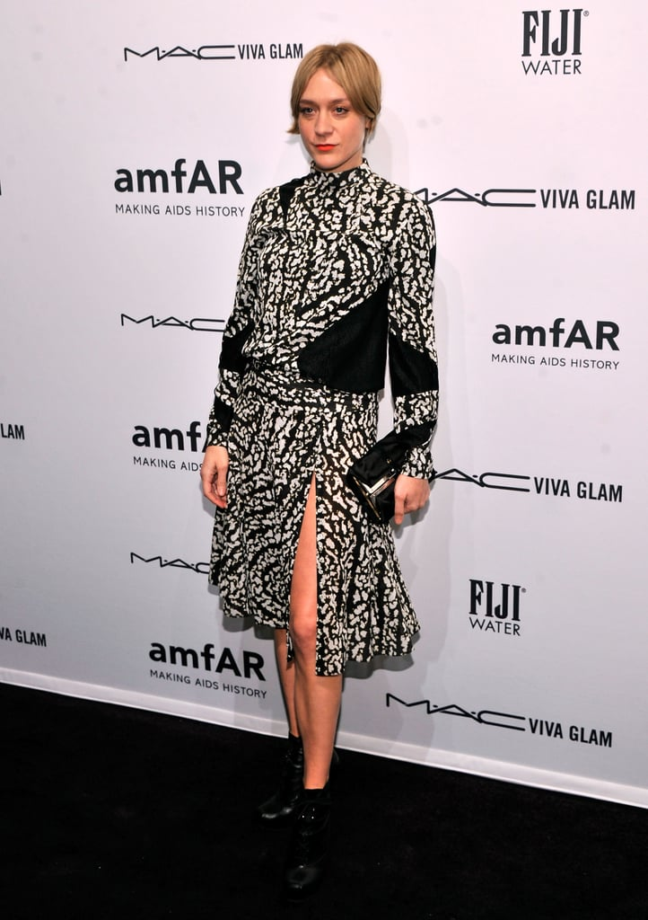 Chloë Sevigny wore a black and white dress to the amfAR New York Gala in February.