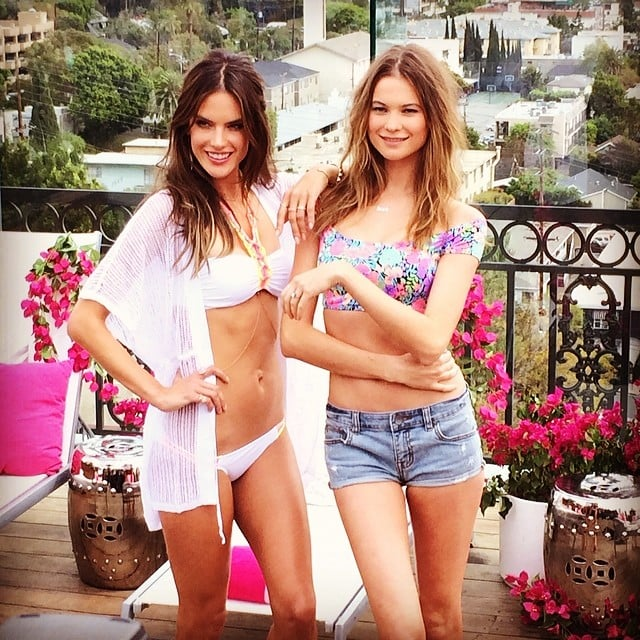 Alessandra Ambrosio and Behati Prinsloo posed in new Victoria's Secret swimsuits together. Source: Instagram user alessandraambrosio