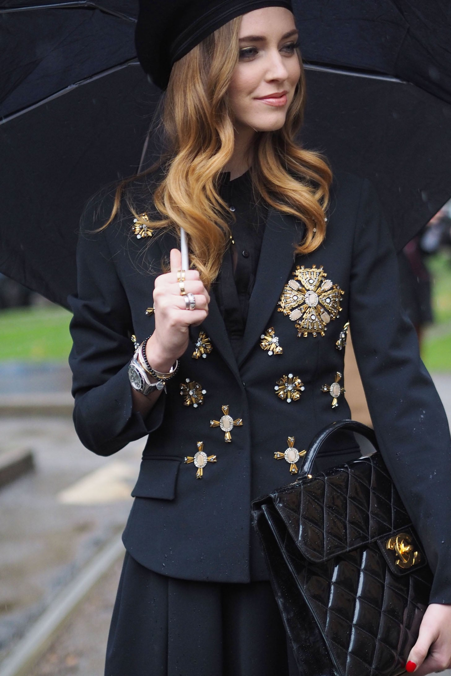 Chiara Ferragni balances both fashion-forward and totally practical accessories.  Source: Tim Regas