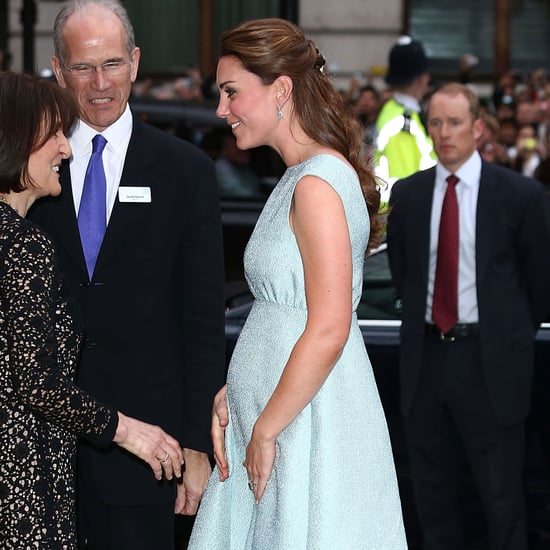 Pregnant Kate Middleton Baby Bump Pictures in Blue Dress