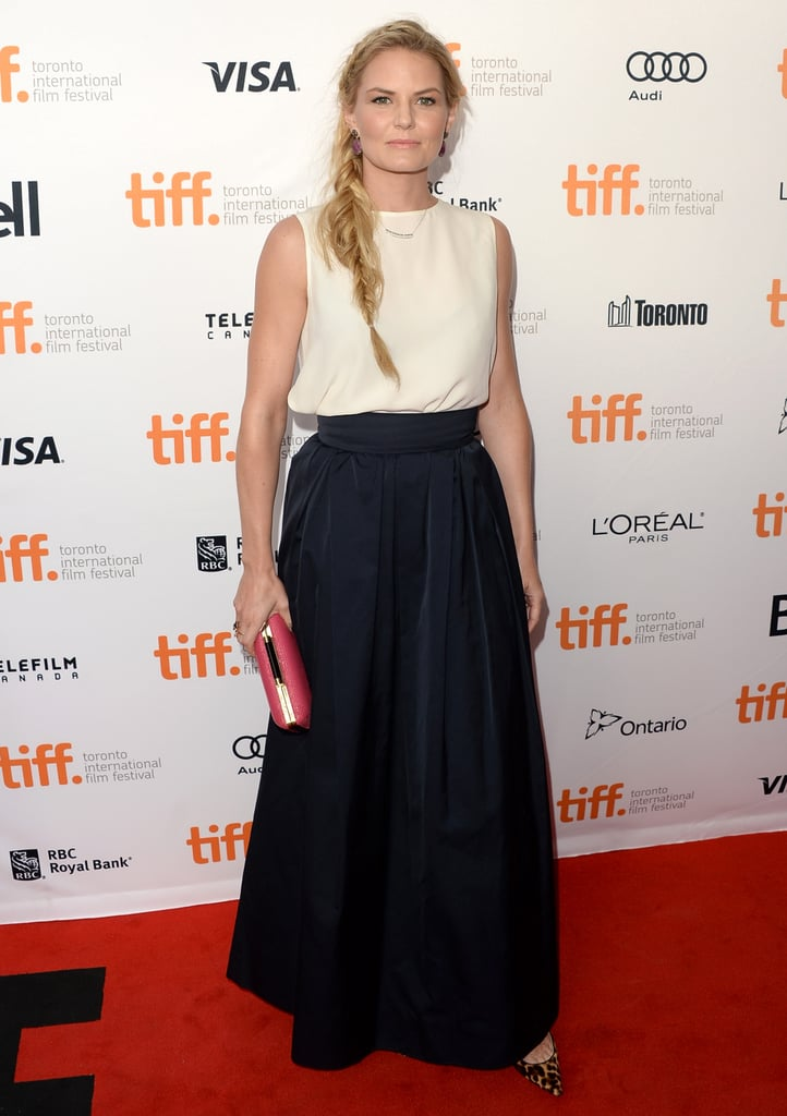 Jennifer Morrison kept it neutral up top but picked leopard pumps and a pink clutch to amp up her red carpet style at the Gravity premiere.