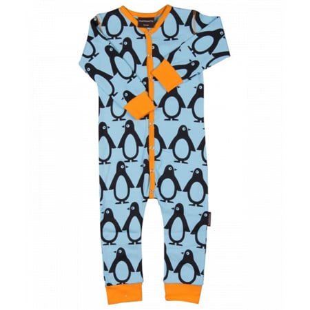 Maxomorra Blue Penguin Snapsuit