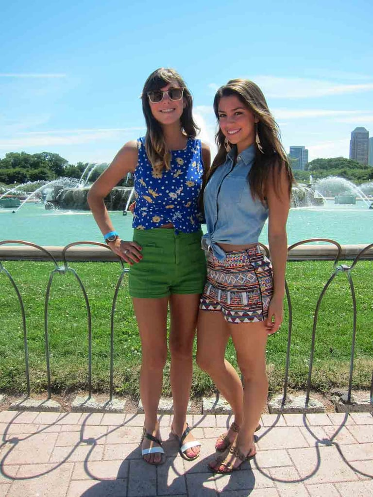 Bright colors, big city: friends Sara and Chelsea proved that bold colors — including Sara's green H&M shorts and Chelsea's tribal Akira ones — are a standout style statement.