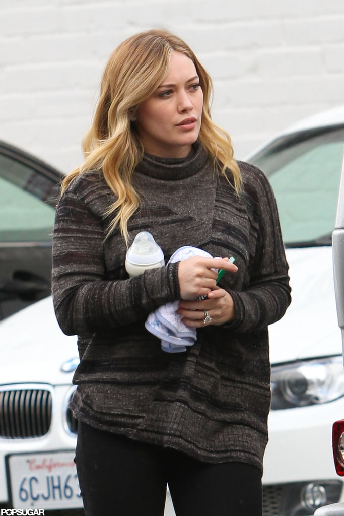 Hilary Duff got out of her car to run errands in LA.