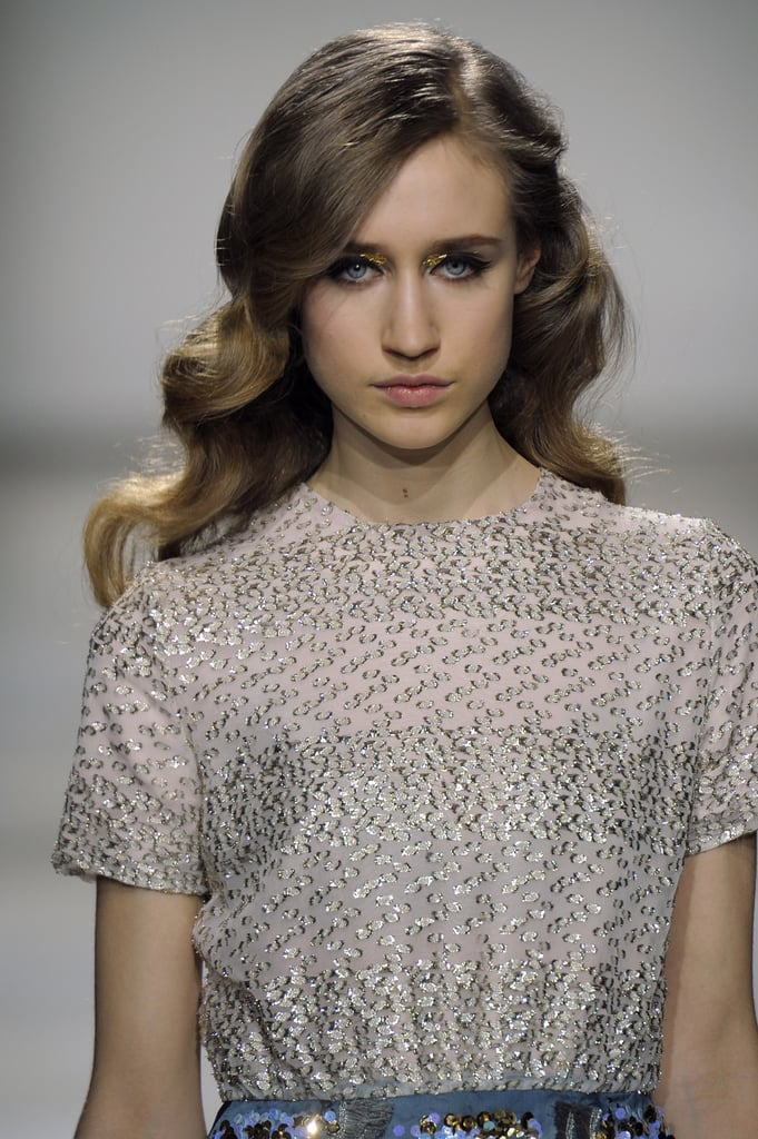 A surprisingly sophisticated Veronica Lake-style waved look graced the long locks of the models for Michael van der Ham's London show for Fall 2012.
