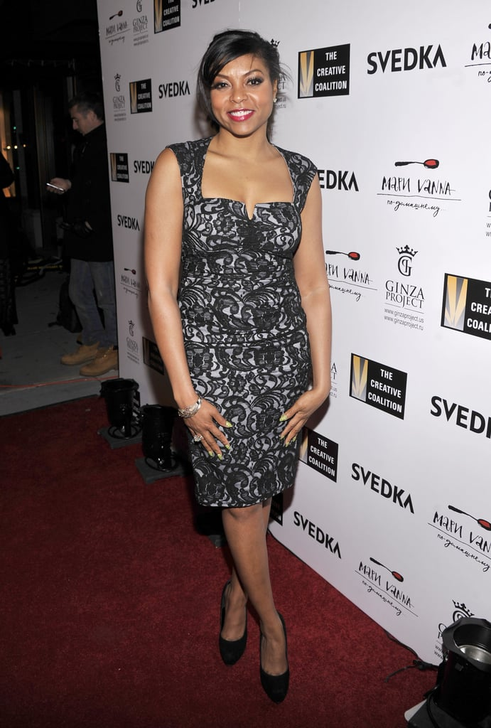 Taraji P. Henson showed off her chic style in a black and white lace dress at the Creative Coalition's dinner over the weekend.