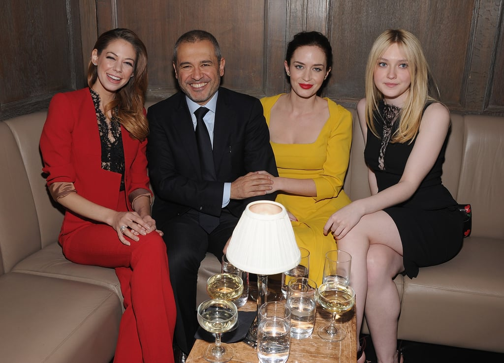 Analeigh Tipton, Elie Saab, Emily Blunt, and Dakota Fanning got together at the Elie Saab private dinner in NYC.