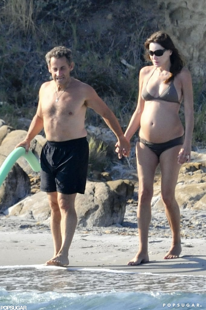 A pregnant Carla Bruni wore a bikini in July 2011 for a visit to Fort de Brégancon, France, with her husband, Nicolas Sarkozy.
