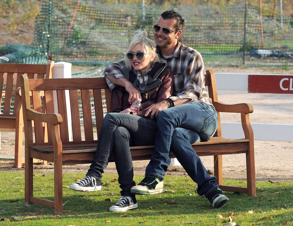 Gavin put his arms around Gwen as they watched their boys play at a California park in January 2012.