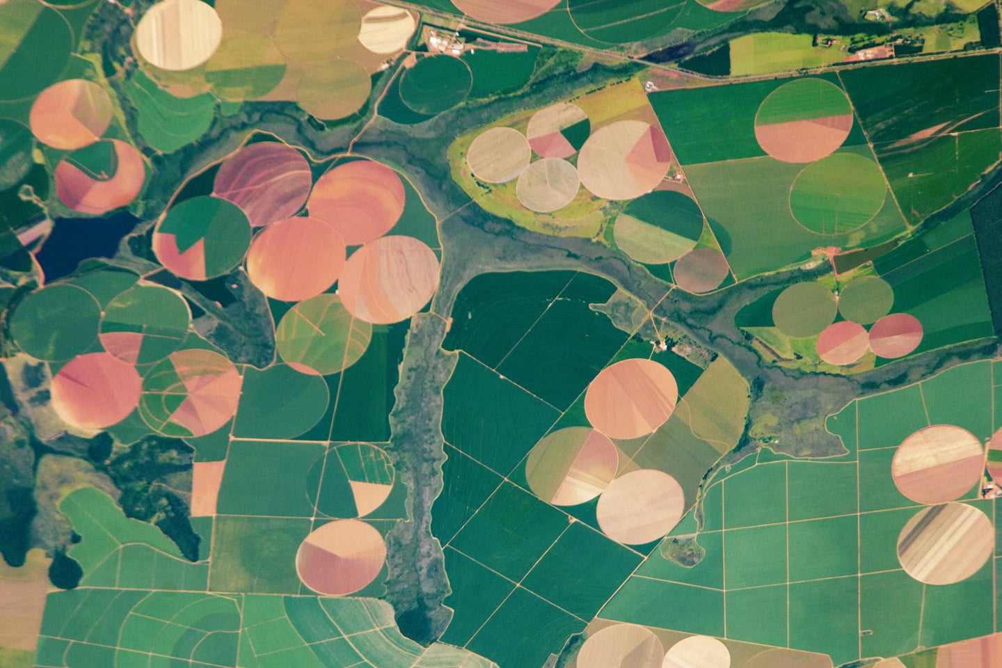 In 2011, this photo was taken from the International Space Station, giving us a unique look at the agricultural landscape in the western part of the Minas Gerais state in Brazil.  Source: Expedition 26 Crew/NASA