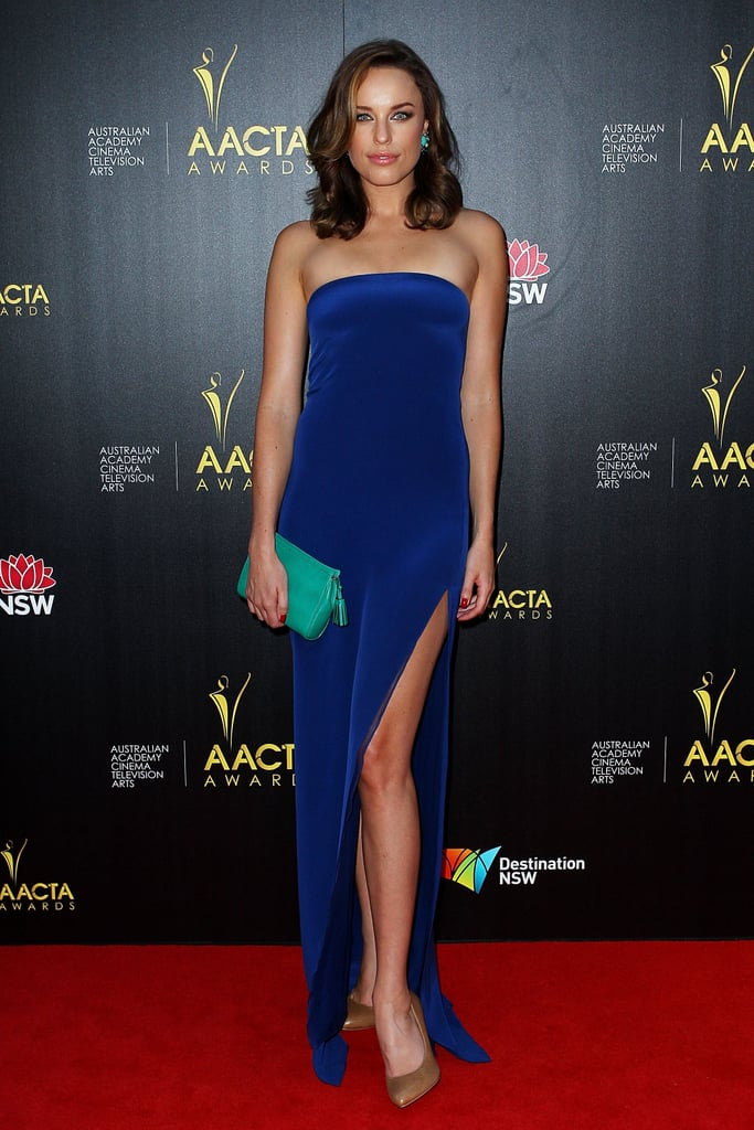 Jessica McNamee wore a blue dress to the AACTAs.