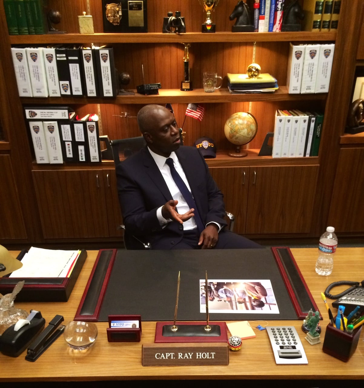 We caught up with Emmy nominee Andre Braugher at his onscreen desk.