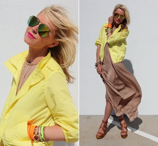 Didn't you know, neons and neutrals happen to look fantastic together.  Photo courtesy of Lookbook.nu