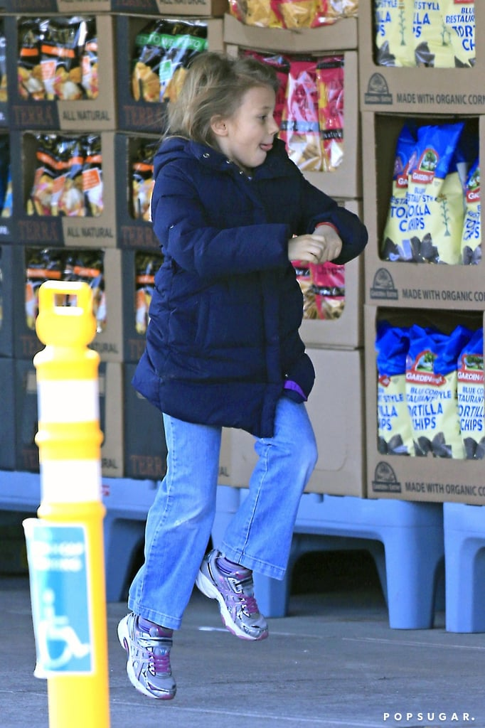 Matilda Ledger walked with her mom at the grocery store.