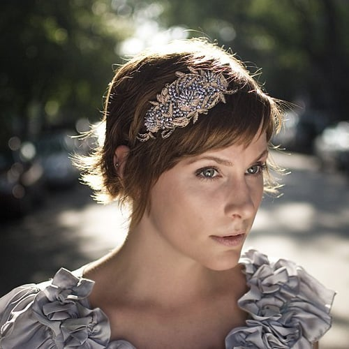 Taupe and Silver Sequin Elastic Headband ($30)