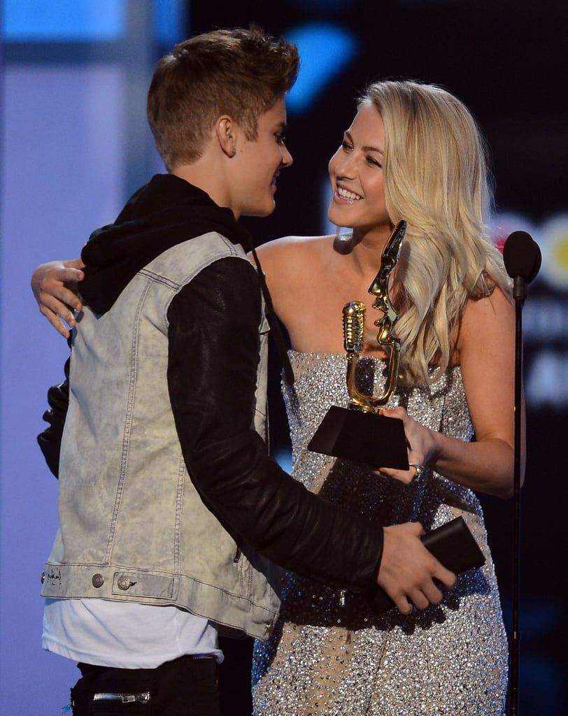 Julianne Hugh congratulated Justin Bieber in May at the 2012 Billboard Music Awards.