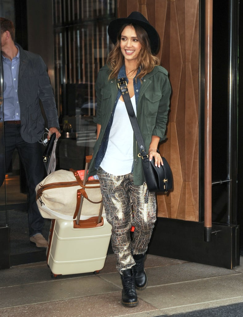 Jessica Alba in Printed Isabel Marant For H&M Jogger Pants