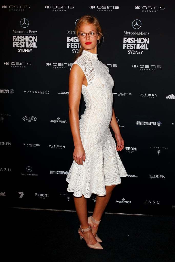 Erin Heatherton was white hot (and bespectacled!) at Sydney's Mercedes-Benz Fashion Festival.