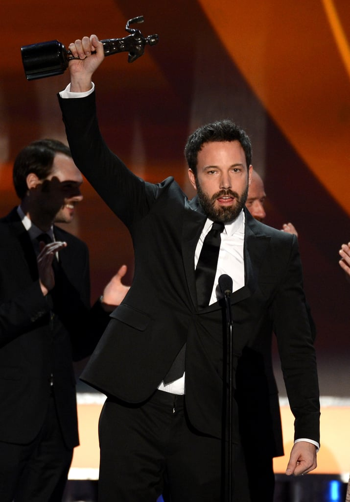 Man of the night Ben Affleck raised his fist after winning big, with his movie Argo, at the SAG Awards on January 28.
