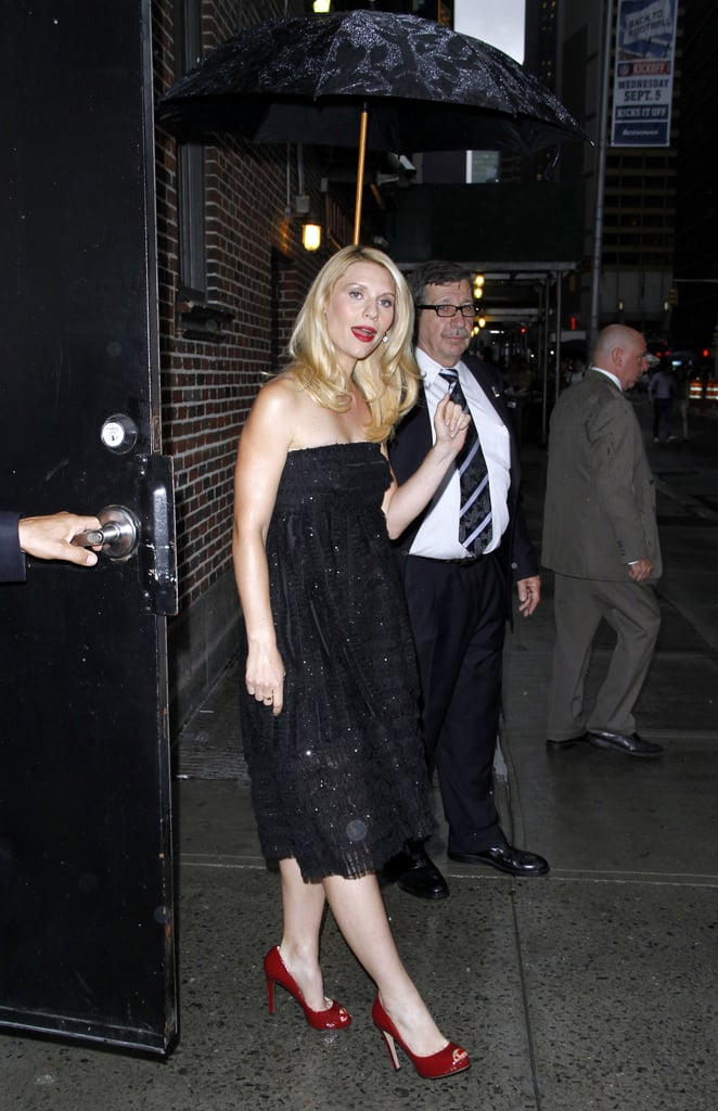 Claire Danes wore red heels and a black dress in NYC.
