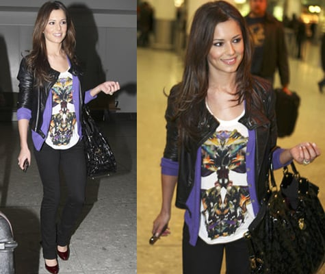Cheryl Cole Heathrow Style, Louis Vuitton Handbag, Printed Top