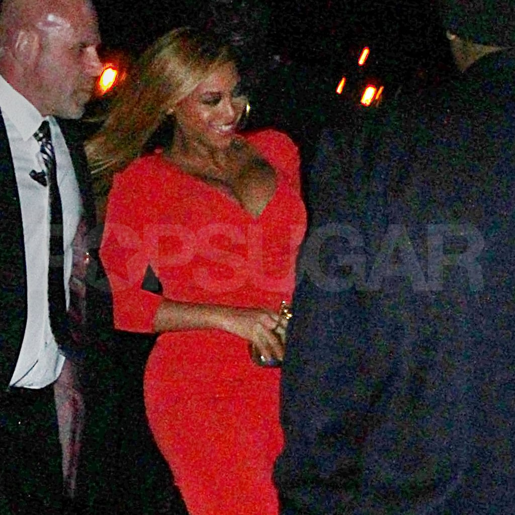 New mom Beyonce Knowles beamed in NYC.