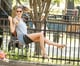 Gisele Bündchen took a ride on the swing at a park in Boston on Saturday.