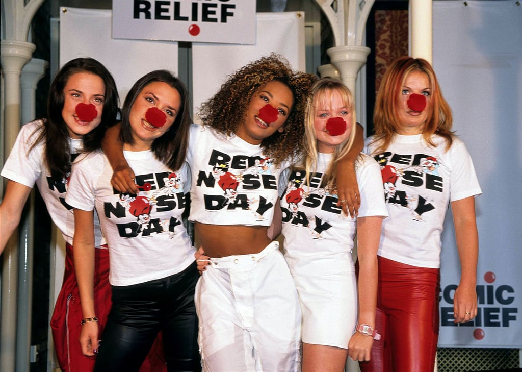 The Spice Girls got playful at London's February 1997 Comic Relief Red Nose Day.