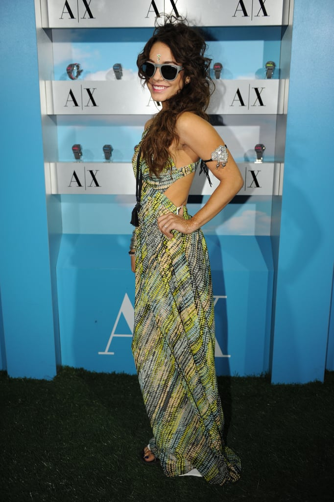 Vanessa Hudgens rocked a printed A/X Armani Exchange maxi dress with a cutout back at the Neon Carnival.  Photo courtesy of Seth Browarnik/WorldRedEye.com