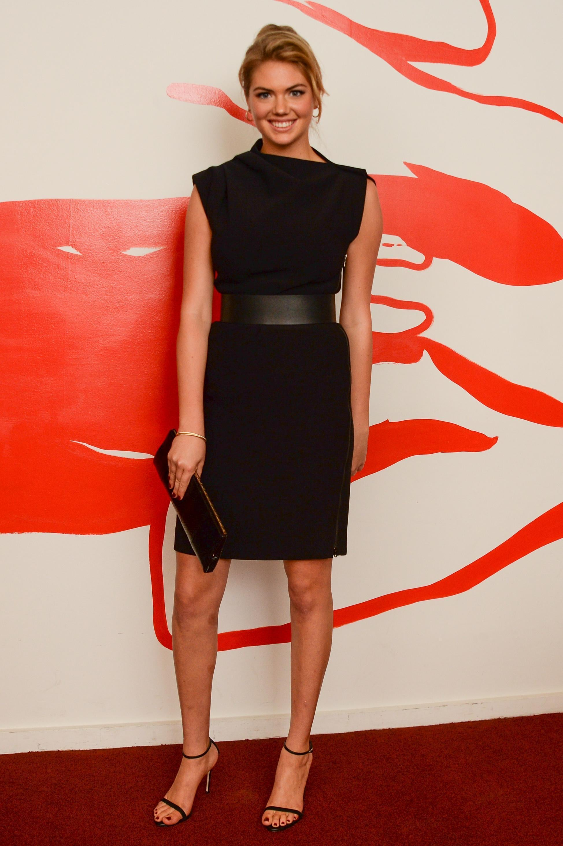Kate Upton was classic chic in a little black dress and black ankle-strap sandals at the Mademoiselle C premiere.