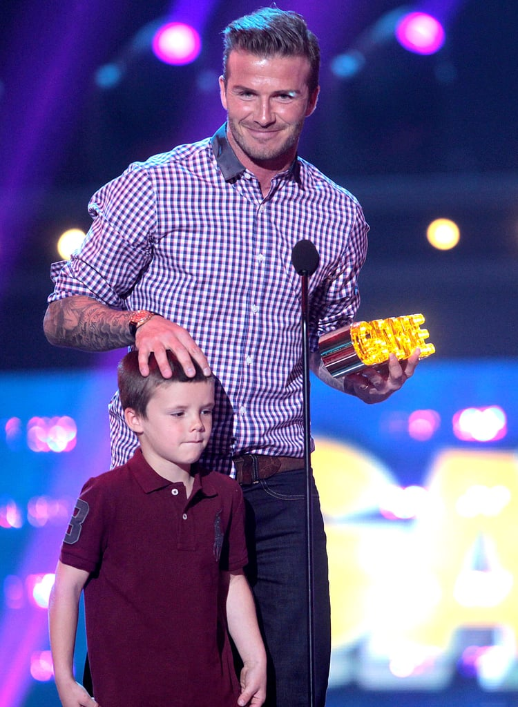 David Beckham brought Cruz on stage during the February 2012 Hall of Game Awards in LA.