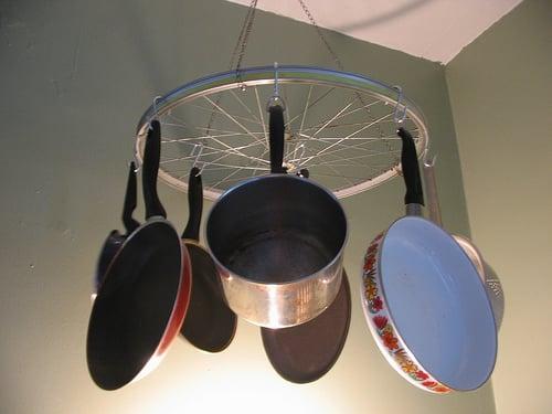 Cool Idea: Bicycle Wheel Pot Rack