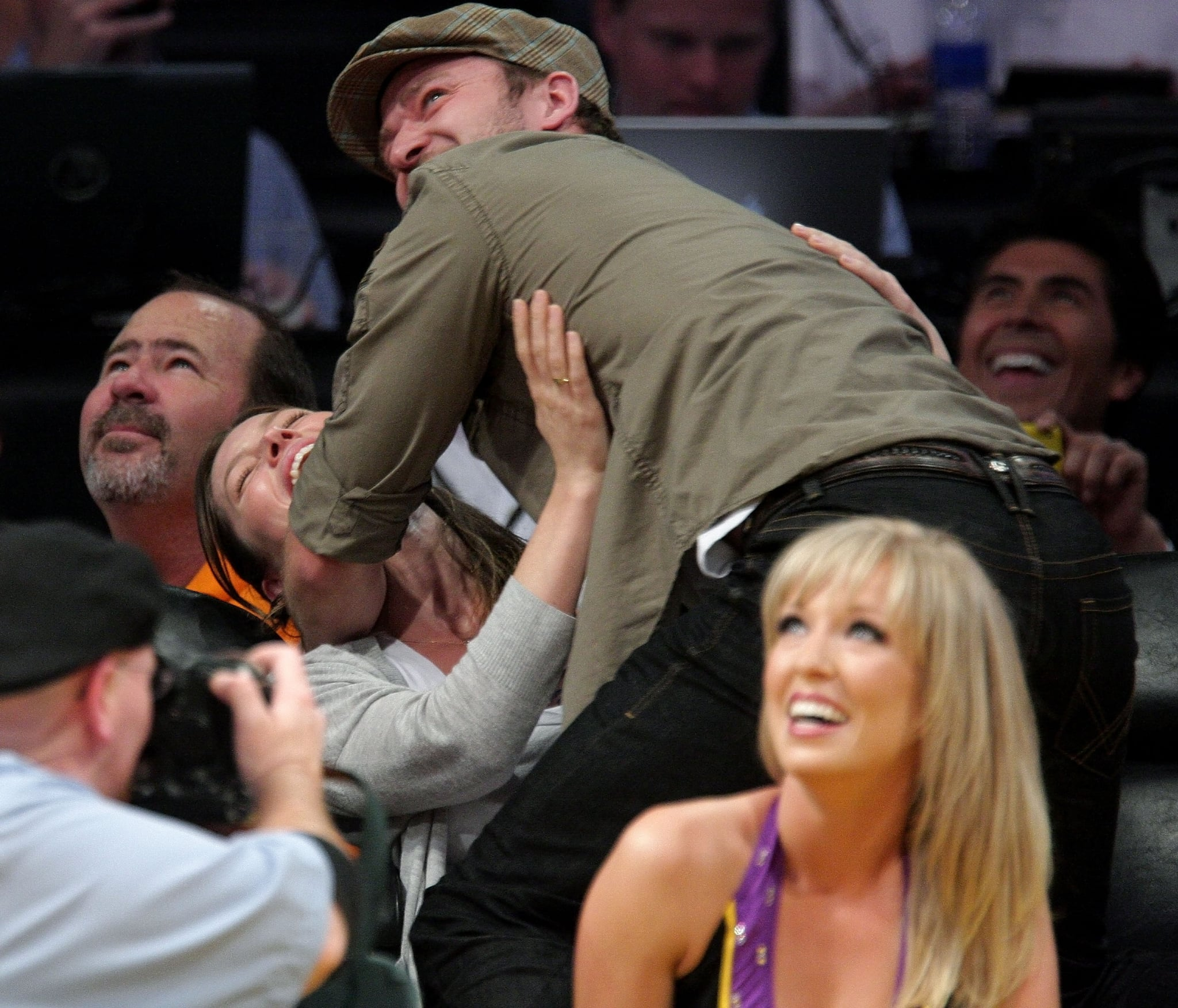 When he showed off some funny PDA with Jessica Biel.
