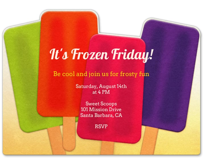This bright Popsicle invite (price upon request) is a sweet way to welcome guests to your event.