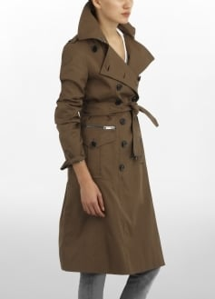 Double Breasted Trench Coat With Zip Pockets