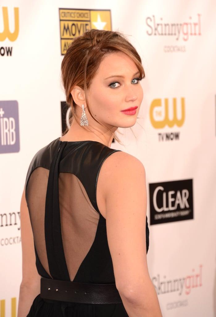 Jennifer Lawrence showed off the sheer back of her Prabal Gurung gown on the red carpet.