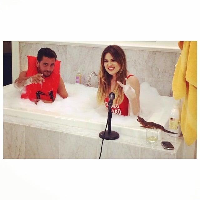 Khloé Kardashian and Scott Disick took a dip in a bubble bath. Source: Instagram user khloekardashian