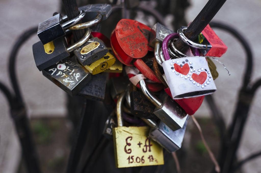 Love padlocks were photographed in the eastern Ukrainian city of Lugansk.
