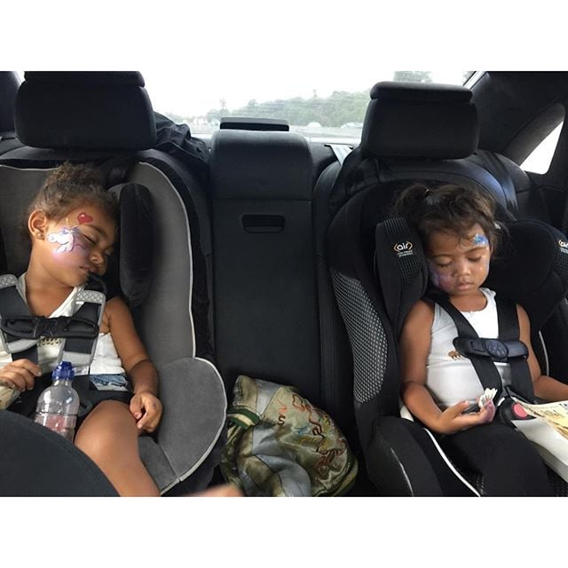 North and her pal passed out after a trip to the pumpkin patch in October 2015.